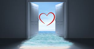 Open door to sea with heart shape Royalty Free Stock Photography