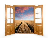 Open the door to the spring landscape Stock Images