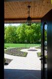 Open door to yard Stock Photo