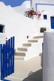Open door in a typical Greek house of Santorini. Island Stock Images