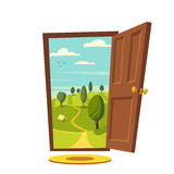 Open door. Valley landscape. Cartoon vector illustration. Vintage poster. Welcome to real world. Retro style Royalty Free Stock Images