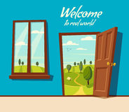 Open door. Valley landscape. Cartoon vector illustration. Vintage poster. Welcome to real world. Retro style. View from the window Royalty Free Stock Photo