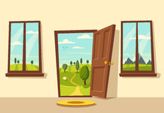 Open door. Valley landscape. Cartoon vector illustration. Vintage poster. Welcome to real world. Retro style. View from the window Royalty Free Stock Image