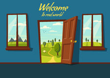 Open door. Valley landscape. Cartoon vector illustration. Royalty Free Stock Photography