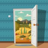 Open door. Valley landscape. Cartoon vector illustration. Vintage poster. Welcome to summer royalty free illustration