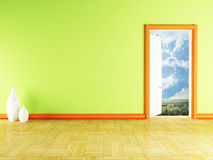 Open door and the vases Royalty Free Stock Images