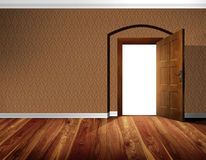 Open door, wallpaper wall, wooden floor Royalty Free Stock Photography