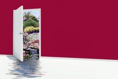 Open door with waterfalls Royalty Free Stock Photo