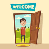 Open door. Welcome. Cartoon vector illustration. Summer landscape. Vintage poster. Guest at the threshold Stock Image