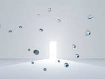 Open door in white room with drops Royalty Free Stock Image
