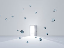 Open door in white room with drops of water Royalty Free Stock Image