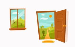 Open door and window cartoon colorful vector illustration with valley summer sun landscape stock illustration