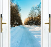 Open door and a winter forest Stock Image
