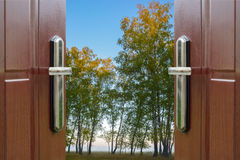 Open door and a winter forest Royalty Free Stock Photography
