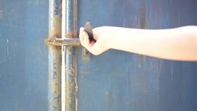 Open the door. Woman hand open the door stock video footage