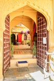 Open doors and arched doorwayinside Golden Fort of Jaisalmer, Ra Royalty Free Stock Photo