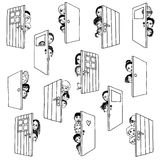 Open doors. Funny and cute hand drawn illustration of various people and children hiding behind doors, or opening doors to welcome guests Stock Image