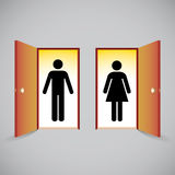 Open doors and man and woman figure. Symbols behind the door Royalty Free Stock Image
