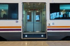 Open doors in metro car Royalty Free Stock Photos