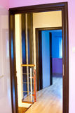 Open doors in modern home. Abstract view of colorful open doors in modern home or house Stock Photography