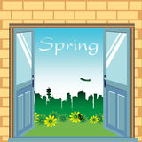 Open doors during springtime Royalty Free Stock Images