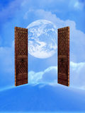 Open doors to the world. In the clouds Royalty Free Stock Image