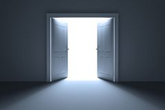 Open doors on white background Royalty Free Stock Photography