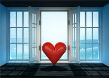 Open doorway with love happiness and winter landscape scene behind Royalty Free Stock Photography