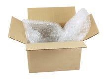 Open doos met bellenomslag Stock Fotografie
