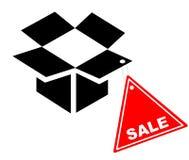 Open doos met de coupon van de Verkoop stock illustratie