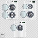Open double Washing machines isolated on transparent background. Vector Royalty Free Stock Image