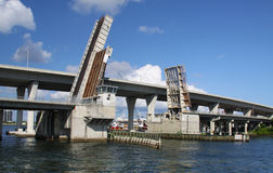 Open Drawbridge. An open drawbridge and bridge Royalty Free Stock Images