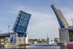 Open drawbridge in Fort Lauderdale Royalty Free Stock Image