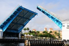 Open drawbridge, marina & boats, South Florida Royalty Free Stock Photo