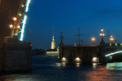 Open drawbridge on Neva river, St. Petersburg. Royalty Free Stock Images