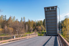 Open drawbridge over Tsvetochnoye lock Stock Photos