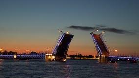 An open drawbridge in St. Petersburg. The Palace Bridge Stock Photo
