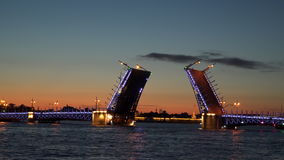 An open drawbridge in St. Petersburg. The Palace Bridge stock video footage