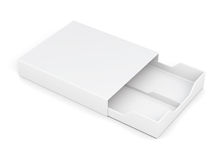 Open drawer box  on white background. 3d rendering. Open drawer box  on white background. Laminated cardboard. Plastic box. 3d rendering Royalty Free Stock Photo