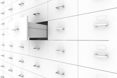 Open drawer - Filing Cabinet. 3D rendered Illustration. Open drawer - Filing Cabinet Royalty Free Stock Photography