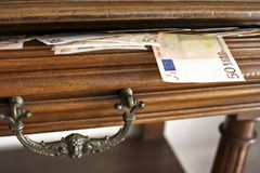 Open Drawer full of fifty euro notes Royalty Free Stock Photos