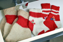 Open dresser  drawer with different socks Royalty Free Stock Photography