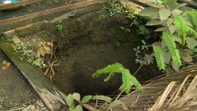 Open dug-out pit at a village home, Myanmar
