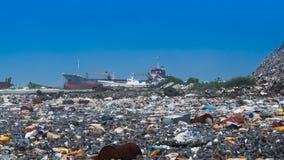 Open dumping site. At thilafushi maldives stock image
