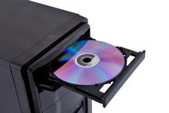 Open dvd rom. On a white background Royalty Free Stock Photo