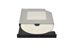 Open dvd rom. From a CD. close-up Royalty Free Stock Photography