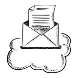 Open e-mail letter in cloud Stock Photos