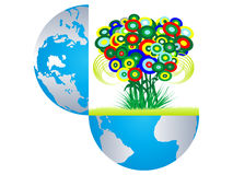 Open earth witn colorful flowers Stock Photo