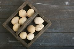 Open eco-friendly wooden box with turkey eggs. Rough dyed wooden background. Eggs For Easter stock photo