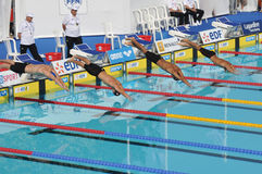 Open EDF 2010 de Natation, Paris. Swimmers diving into water Royalty Free Stock Photography
